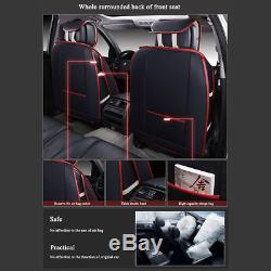Universal Deluxe Car SUV Seat Cover 5-Seat Front+Rear Cushion Black&Red US Stock