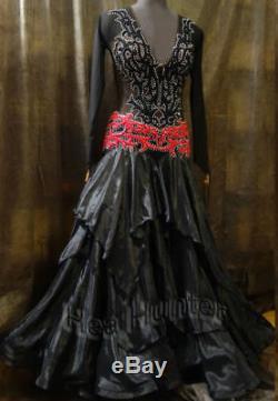 Women Ballroom Standard Tango Waltz Dance Dress US 12 UK 14 Black Red Lace