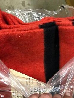 Wool Blanket Utah Pioneer Woolen Mills 72 x 90 Red w black stripes New Old Stock