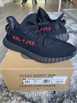 100% Authentique Adidas Yeezy Boost 350 V2 Taille Bred 10,5 Noir Rouge Avec Réception