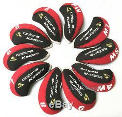 10pcs Qualité Noir Et Rouge Cobra Roi Club De Golf F9 Couvre De Fer Headcovers Stock Britannique