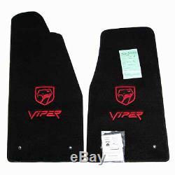 1992 2002 Dodge Viper Rt / 10 Tapis Noir Rouge 2 Logos Ultimat En Stock