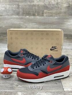 2012 Nike Air Max 1 Essential Bred Noir Rouge Gris Rouge Og 537383-061 Taille 10