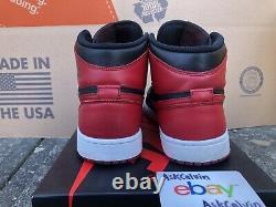 2013 Nike Air Jordan Retro 1 Un Haut Og Bred Blanc Noir Rouge 555088-023 Taille 9