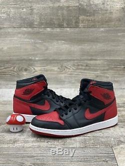 2013 Nike Air Jordan Retro 1 Un Haut Og Bred Noir Rouge Blanc 555088-023 Sz 12.5