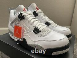 2016 Nike Air Jordan 4 Blanc Gris Ciment Noir Rouge Og Retro Sz 11.5 Brand New Ds