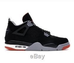 2019 Nike Air Jordan 4 Retro Bred Og Tous Black & Red Sz 10,5 Stock Mort