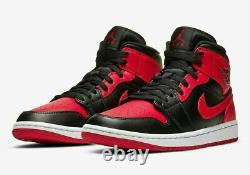 2020 Nike Air Jordan 1 MID Banned Black Red Bred Gs 4y- Homme 12 100% Authentique