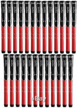 25 X Winn Dri-tac Dritac Avs Souple Noir Rouge Taille Standard Golf Grip 5dt-brd Nouveau