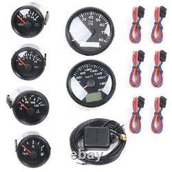 6 Jeu De Jauge Speedo 8000rpm Tacho Fuel Volts Pression D'huile Temp Black USA Stock