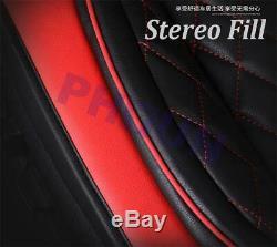 6d Broderie Noir + Rouge 5 Sièges Siège D'auto Couvre Avant + Arrière Cushinos Us Stock