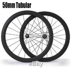 700c Carbone 50 MM Standard Profondeur Roues Carbone Boyau Route Fibre Vélo Wheelset