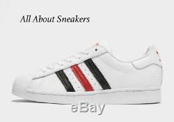 Adidas Superstar Blanc-noir-rouge Baskets Homme Toutes Les Tailles Stock Limite