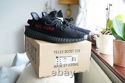 Adidas Yeezy Boost 350 V2 Black Red/bred Royaume-uni 9.5 Expédition Rapide