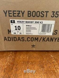 Adidas Yeezy Boost 350 V2 Core Noir / Rouge Stripe Taille 10 Stock X Certifié