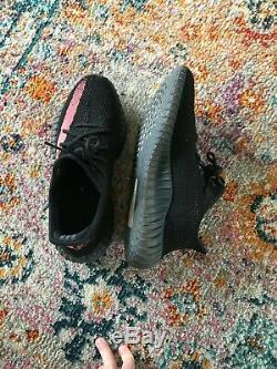 Adidas Yeezy Boost 350 V2 Noir Red Stripe Uk 9 Stock Mort