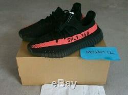 Adidas Yeezy Boost 350 V2 Royaume-uni 7.5 Noir / Rouge Bande Rouge