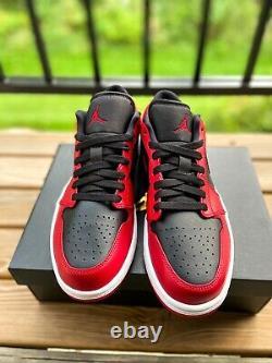Air Jordan 1 Low Inverse Bred Noir Rouge Taille 8.5 Mens 553558-606 Marque Nouveau