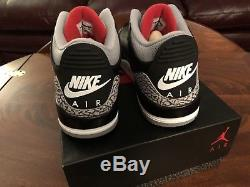 Air Jordan 3 Retro Og Noir Feu Rouge Ciment Gris. Taille 13. Newithdead Stock
