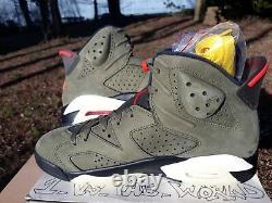 Air Jordan 6 Retro Sp Travis Scott Taille 8,5 100% Authentique Cn1084 200 Olive