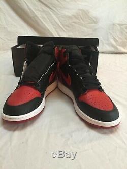 Air Jordan Retro 1 Og Banned Bred Blk Varsity Rouge Blanc Y6.5 Stock Mort Stocké.