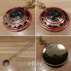 Auth Chanel Collier Médaillon Métal Longueur 31 Or Noir Rouge Avec Boîte En Stock