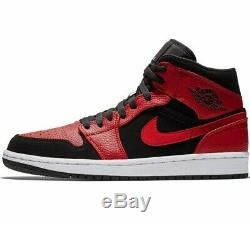 Authentique Air Jordan 1 MID Inverse Bred (hommes Uk 10,5 Eur 45,5) Noir Rouge
