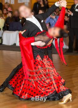 B7321 Balançoire De Salle De Bal Standard Waltz Tango Rhythm Us 6 Robe De Danse Noire / Rouge