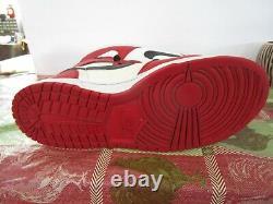 Big Nike Spike Lee Mars Haute Bulls Retro Blanc Noir Rouge 336608-101 Taille 10.5