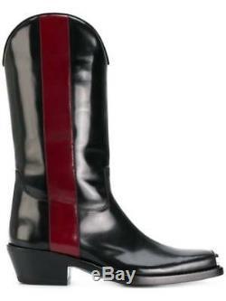 Calvin Klein 205w39nyc Bottes De Cowboy 41 Uk 7 Western Ed Abrasivo Noir / Rouge