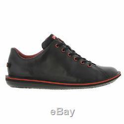 Camper Beetle 18648 Hommes Noir Chaussures En Cuir Baskets Taille 8-11