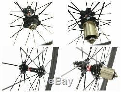 Carbon Standard Wheelset 88mm Profondeur Clincher Jantes En Fibre De Carbone 700c Essieux