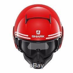 Casque Shark Raw 72 Rwk Rouge Blanc Noir Jet Plusieurs Tailles En Stock! Livraison Gratuite