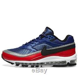 Chaussure Nike Air Max 97 Bw Deep Royal, Noire Et Rouge Pour Homme, Stock Limité - 7,5