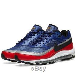 Chaussure Nike Air Max 97 Bw Deep Royal, Noire Et Rouge Pour Homme, Stock Limité - Royaume-uni 6,5