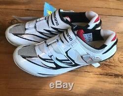 Chaussures Cyclisme Route Shimano Hommes Sh-r315, Eur 47 Blanc / Noir / Rouge Nouveau Vieux Stock