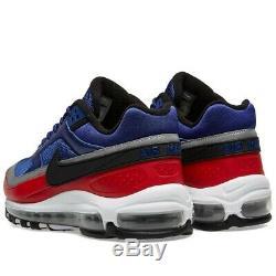 Chaussures Hommes Nike Air Max 97 Bw Deep Royal, Noires Et Rouges - Stock Limité: Royaume-uni 8