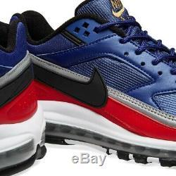 Chaussures Hommes Nike Air Max 97 Bw Deep Royal, Noires Et Rouges - Stock Limité: Royaume-uni 9