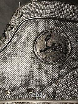 Christian Louboutin Gris Noir Red Bottoms Baskets 43.5 Us 10.5 Chaussures Authentique