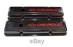 Couvre-soupapes Stock En Acier Stock Acier Noir Avec Logo Rouge De Chevrolet Sbc Chevrolet 58-86 Nouveau