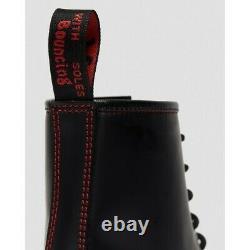 Dr Martens 1460 Women Colour Stitch Cuir Noir Rouge 8 Eye Boots Taille 25827001