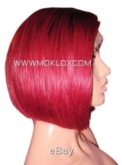 En Stock Perruque Cheveux Humains Avant Dentelle Court Bob Bug Rouge 1 Top Soie Noire Roots 180%