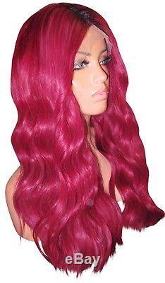 En Stock Perruque De Cheveux Humains Remy Full Lace 20 Long Bug Rouge Noir Racines 200% Moklox