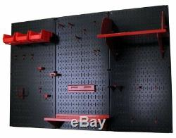Ensemble De Rangement Pour Outils Standard Wallboard Pegboard, Noir / Rouge