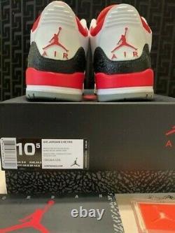 Euc 2013 Nike Air Jordan Retro 3 10.5 Blanc/feu Rouge/argent/blk 136064-120