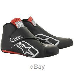 Fia Alpinestars Chaussures En Cuir Supermono Race Bottes Noir Kangourou Rouge Stock