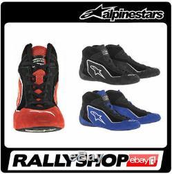Fia Chaussures De Course Alpinestars Sp Course Rallye Fia en Daim Noir Stock Rouge Bleu