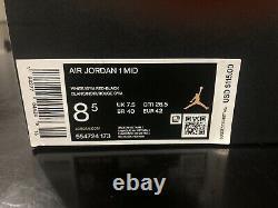 Flambant Neuf Sz 8.5 Nike Air Jordan 1 MID Chicago White Heel Gym Red 554724-173