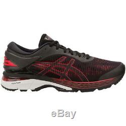 Gel Kayano 25 Asics Red Road Hommes Noir Courir Trainmers Chaussures Taille 8-12