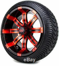 Golf Cart Roues Et Pneus 14 Black / Red Tempest Ss Set De 4